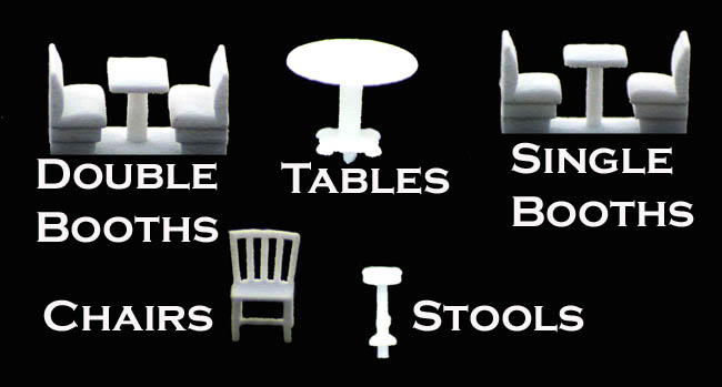 N Scale Detail Diner Or Restaurant Set 24 Piece Variety Pack