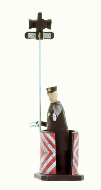 O Scale Traffic Cop With Traffic Lights Figure