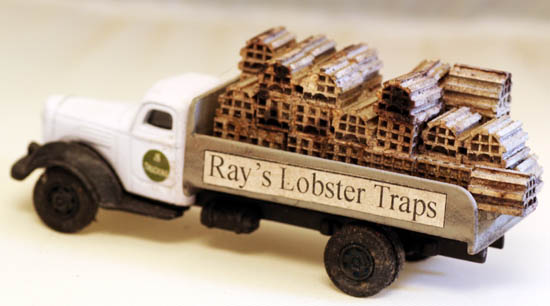 HO Scale Built up LOBSTER TRAP Delivery Truck, Loaded with Traps