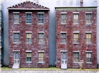 3d Background Ho Scale Kit Rustic Brick Triple Decker