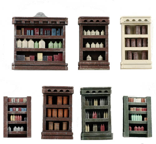 Ho scale detail interior pack 1 merchant shelving full - Printable ho scale building interiors ...