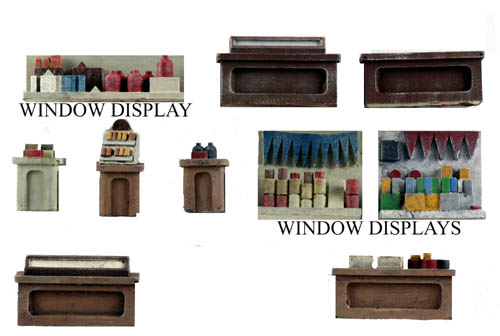 Ho Scale Interior Detail Pack 2 Counters Tables Window Displays