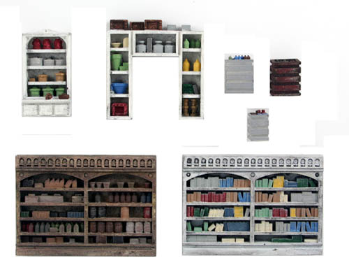 Ho scale detail interior pack 4 merchant shelving floor - Printable ho scale building interiors ...