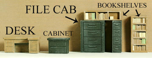 Ho scale interior detail office detailing pack 1 unfinished - Printable ho scale building interiors ...