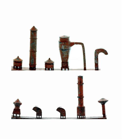 Ho Scale Detail Flat Roof Style Building Vents Pre Rusted