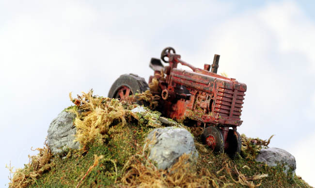 N Scale Farm Tractor Abandoned And Rusting Out Finished