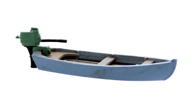 HO Scale Boat Series, Small Motor Boat with Outboard kit