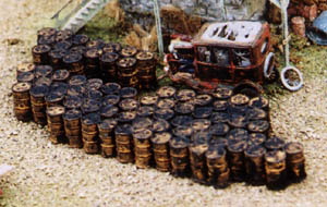 HO Scale Detail Oil Drums, contains piles of Over 75 drums