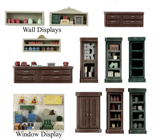ho scale detail interior pack 3 counters shelving window displays. Black Bedroom Furniture Sets. Home Design Ideas