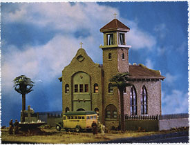 Ho Scale Kit Mission Style Church Stucco Walls Tile Roofs