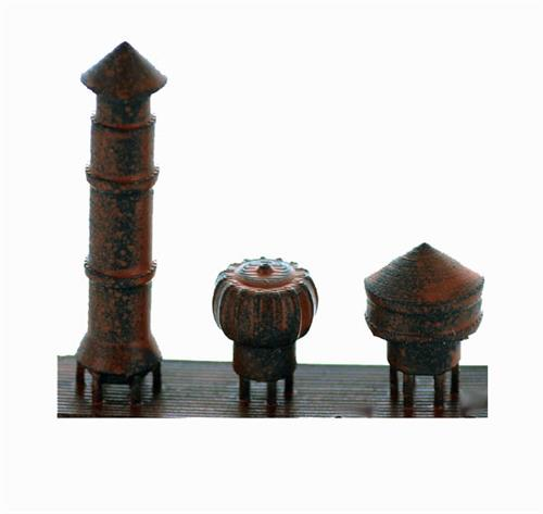 Ho Scale Detail Factory Style Roof Vents 3 Pack Rusted