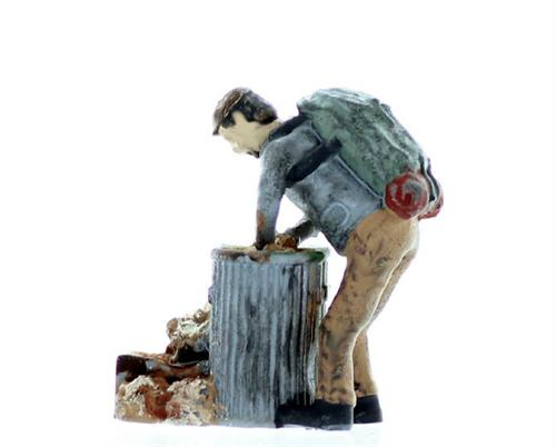 HO scale Figure Hobo in trash can
