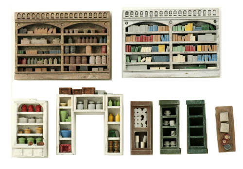 N scale detail interior pack 2 shelving cabinets and - Printable ho scale building interiors ...