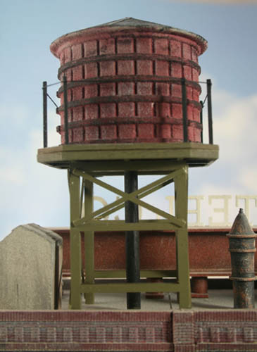 O Scale Rooftop Old Wood Water Tank Finished